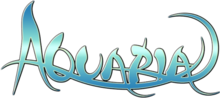 The word AQUARIA, written in a curved, flowing font is overlaid on a black background. The word itself fades vertically from blue to white and back to blue.