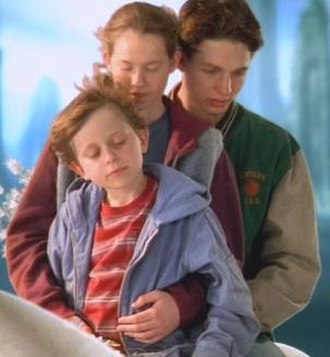 A Wrinkle in Time (2003 film) - From left: David Dorfman as Charles Wallace Murry, Katie Stuart as Meg Murry and Gregory Smith as Calvin O'Keefe on the planet Uriel.