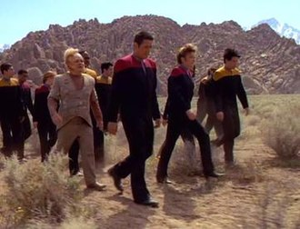 Basics (Star Trek: Voyager) - The Voyager crew abandoned on the planet.
