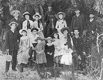 History of Sarasota, Florida - The Browning and Whitaker pioneer families, gathered for a photograph in Sarasota, Florida during 1886 - Sarasota County History Center collection