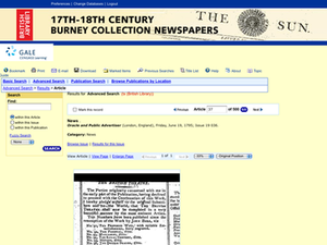 Burney Collection of Newspapers - Internet based search interface for the Burney Collection digital archive.