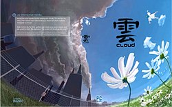 "A curved painting of a field of white flowers in front a gray, fenced-in city. The word ""Cloud"" is written below the Chinese character for the same on the right side, and description of the game is in a gray box on the left."