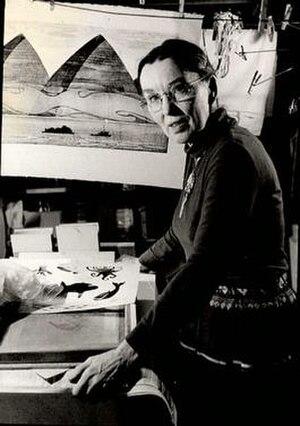 Dale DeArmond - Dale in her basement printshop, 1977