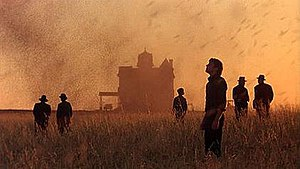 Days of Heaven - To film the scene with the swarm of locusts, where the insects rise into the sky, the film-makers dropped peanut shells from helicopters. The actors had to walk backwards while running the film in reverse through the camera to achieve the effect. When it was projected, everything moved forward except the locusts.