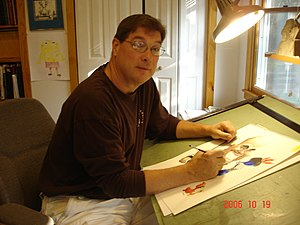 Ed Murawinski - Murawinski working on a drawing for the New York Daily News.