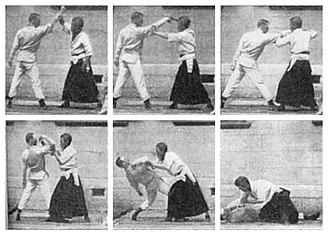 Kyushin Ryu - Eguchi Shihan with EW Barton-Wright demonstrating a defensive technique
