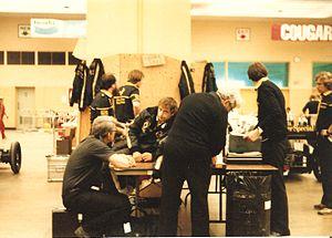 Peter Warr - Peter Warr (left) talking to Elio de Angelis at the 1983 Detroit Grand Prix