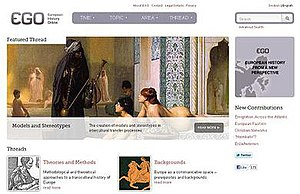 European History Online - Image: European History Online (front page)