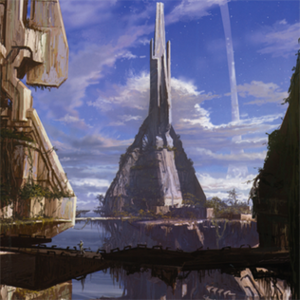 Factions of Halo - Concept art by Eddie Smith for Forerunner structures in the game Halo 2, showing the Forerunners' angular architecture, an architecture style only they used and are known for.