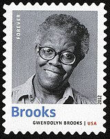Commemorative postage stamp of Gwendolyn Brooks issued by the USPS in 2012.