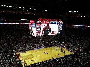 Toyota Center - Inside the Toyota Center, with the new scoreboard, 2013.