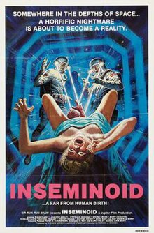 "In the foreground of the underlit image, a female in labour screams as the head of an alien infant emerges from between her legs. In the background, two men in atmospheric suits shine helmet flashlights onto the newborn, aghast. Text at the top of the image reads ""Somewhere in the Depths of Space ... A Horrific Nightmare is About to Become a Reality"". Underneath the bold, red title of ""Inseminoid"", the smaller text concludes ""... A Far from Human Birth!"" and leads into the production credits which line the bottom of the image."