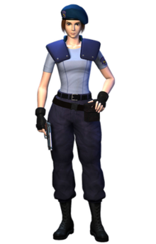 A 3D rendering of a fictional character using realistic proportions. She is wearing combat boots, military pants, a form-fitting light blue shirt, shoulder pads, a beret and tactical gloves. She has a pistol in her right hand by her side.