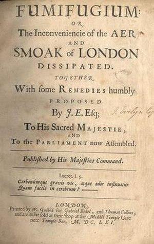 Fumifugium - Original title page of John Evelyn's Fumifugium