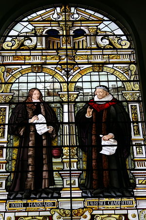 John Harvard (clergyman) - Emmanuel College window (1884) depicting John Harvard on left