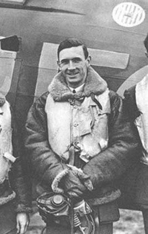 "John A. Kent - ""Johnny"" Kent posing in front of a Hurricane, October 1940"