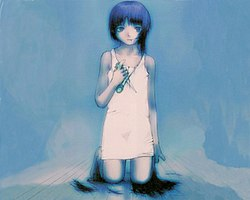 A young girl in a white shift kneels facing us with scissors in her hand, and hanks of her own hair on the ground, leaving one forelock uncut. The background is blue.
