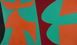Hard-edge painting - Lorser Feitelson, Untitled 1952, 40 x 70 inches