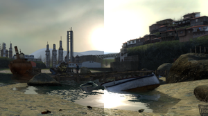 High-dynamic-range rendering - A comparison of the standard fixed-aperture rendering (left) with the HDR rendering (right) in the video game Half-Life 2: Lost Coast