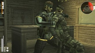 Metal Gear Solid: Portable Ops - Gameplay screenshot of Naked Snake capturing a FOX soldier