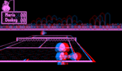 Mario's Tennis as displayed on a Virtual Boy emulator. The red/blue format simulates the Virtual Boy's 3D display.