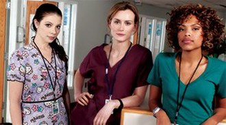 Mercy (TV series) - (From left to right) Michelle Trachtenberg as Chloe, Taylor Schilling as Veronica, and Jaime Lee Kirchner as Sonia
