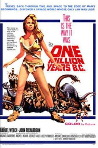 Tom Chantrell - Chantrell's poster for One Million Years B.C. (1966) featured a popular image of Raquel Welch