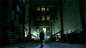 Angel (1999 TV series) - Angel screenshot from the opening credits.  Taking place in a dark metropolis, Angel often alluded to the noir detective genre that influenced the show.