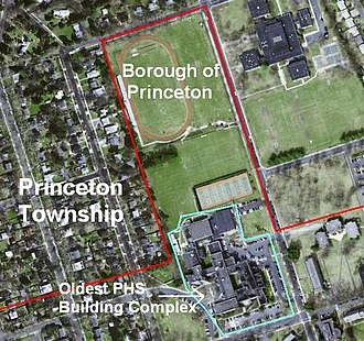 Princeton High School (New Jersey) - This image of PHS from above (with old municipal boundaries pre-dating the January 1, 2013, consolidation of Princeton highlighted) predates the 2000s construction.  The building complex to the right of the athletic fields and track is John Witherspoon Middle School, also pre-construction.