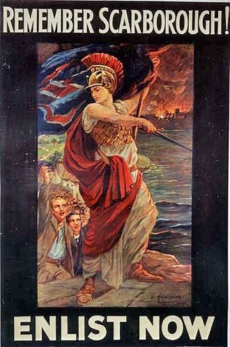 Raid on Scarborough, Hartlepool and Whitby - British propaganda poster following the raid