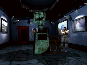 Resident Evil (1996 video game) - A screenshot of a puzzle that has to be solved at the beginning of the game. The environmental graphics are pre-rendered, whereas the characters and the objects that can be interacted with are real-time polygonal models