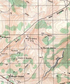 Shebaa farms - A Lebanese military map, published in 1966, showing  Shebaa Farms on the Syrian side of the border