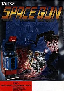 Artwork of a vertical rectangular box, depicting a space suited human wielding a gun against an alien life-forms. The game's logo is at the top of the image, with a picture of the arcade cabinet in the bottom left hand corner.