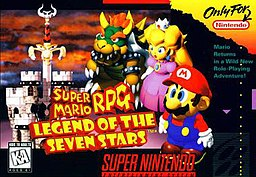Video game cover of Super Mario RPG: Legend of the seven stars for the SNES, depicting from left to right Bowser, Princess Peach and Mario, with Bowser's castle and a disproportional sword within it, and a grim cloudy background behind them.