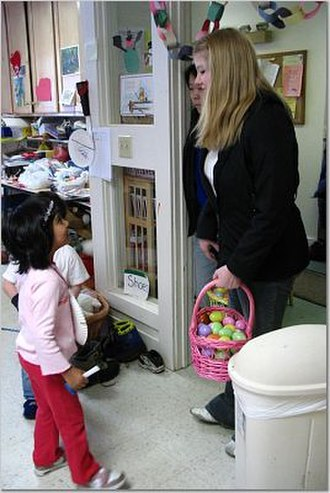 Cascadilla School - Cascadilla School Students are active in the surrounding community. Here two students volunteer at a local Day Care center. Community service is a special focus of the school.