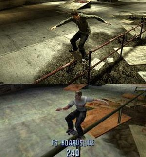 Tony Hawk's Pro Skater HD - Developer Robomodo worked closely with Tony Hawk to recreate both gameplay and visuals in a new, high definition environment. Top: Tony Hawk's Pro Skater HD; bottom: The original Tony Hawk's Pro Skater