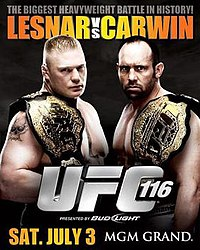 A poster or logo for UFC 116: Lesnar vs. Carwin.