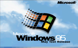 "The startup screen from build 468, 480, 490 and 501 (490 and 501 are June test release, but with the same startup screen indicating ""June test release"" under the Windows 95 logo instead of ""May test release"")."