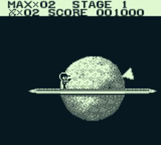 The Adventures of Star Saver - The player is standing on a platform that looks like the planet Saturn.