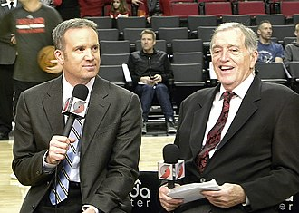 Mike Rice (basketball) - Mike Rice (R) with his longtime television broadcast partner with the Portland Trail Blazers, Mike Barrett.