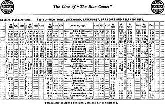 Blue Comet - June 1936 schedule