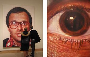 Mark (1978 - 1979), acrylic on canvas.  Metropolitan Museum of Art, New York, New York.  Detail at right of eye.  Mark, a painting that took Close fourteen months to complete, was constructed from a series of airbrushed layers that imitated CMYK color printing.  Compare the picture's integrity close up with the later work below, executed through a different technique.