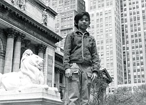 Dennis B. Funa - Funa while an elementary student in New York City. Standing before the New York Public Library along Fifth Avenue.
