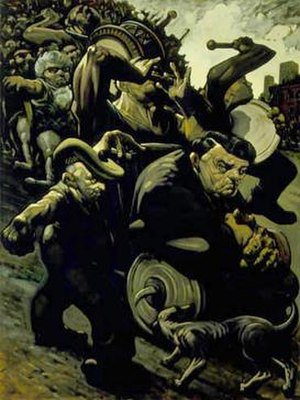 Peter Howson - Blind Leading the Blind III (Orange Parade), 1991.