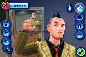 The Sims 3 - A player editing a Sim in Create a Sim (smartphone version).