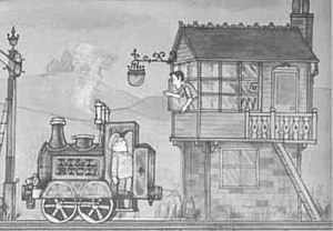 Ivor the Engine - from Ivor the Engine (1959). Ivor with Jones the Steam on footplate.