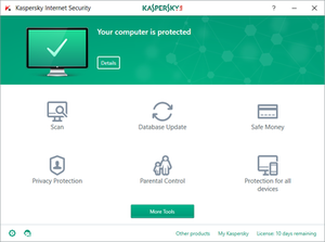 Kaspersky Lab - Home screen of Kaspersky Internet Security