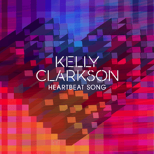 "An artwork of a heart made of three-dimensional blocks sliding towards the upward left are printed against a checkered-patterned background, with the word-marks ""Kelly Clarkson"" and ""Heartbeat Song"" are printed in front of it."