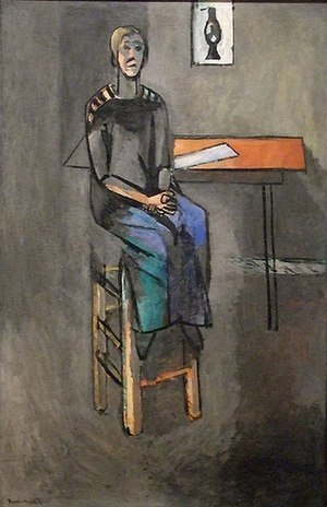 Woman on a High Stool - Woman on a High Stool (1914). Oil on canvas, 147 x 95.5 cm. In the collection of the MoMA, New York City