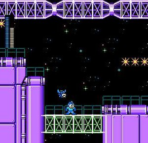 Mega Man 5 - The player (as Mega Man) and his bird companion Beat traverse Star Man's stage.